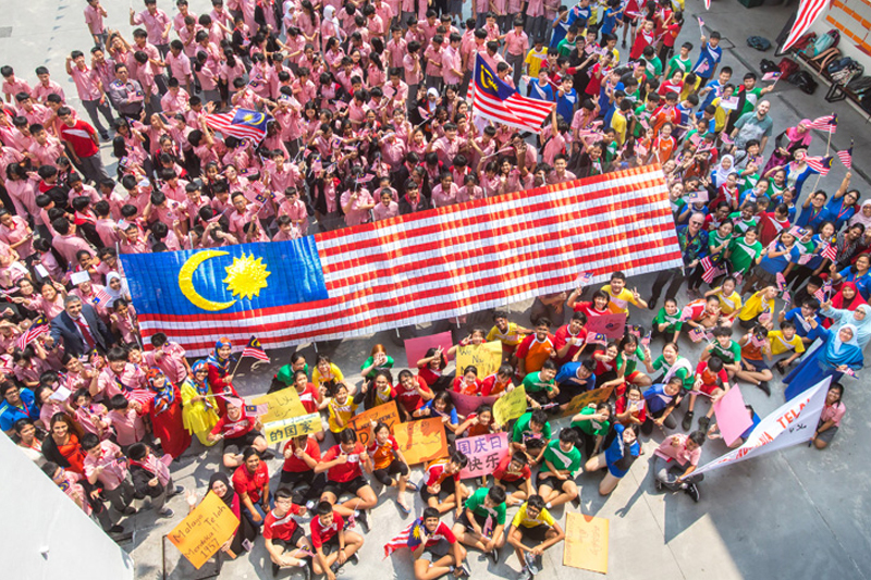 Putting together the giant Malaysian flag was deemed the most challenging as it was the first project launched by the Guidance Unit to show our love for our nation.